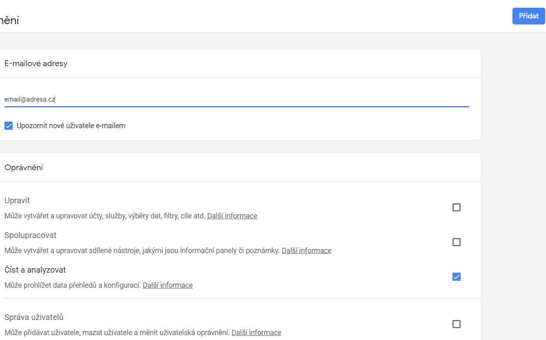 přidání uživatele do Google Analytics